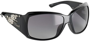 Black scattered diamante large sunglasses