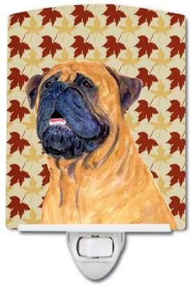 Caroline's Treasures Mastiff Fall Leaves Portrait Ceramic Night Light