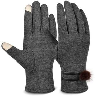 Vbiger Women Warm Mittens Cold Weather Gloves Touch Screen Gloves with Lovely Woobies
