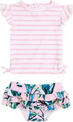 Snapper Rock Royale Palm Two-Piece Rashguard Swimsuit