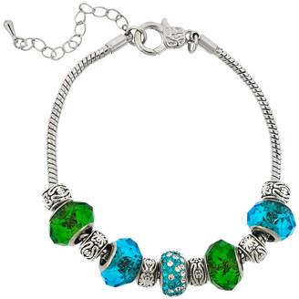 SPARKLE ALLURE Dazzling Designs Silver-Plated Blue & Green Glass Bead Bracelet