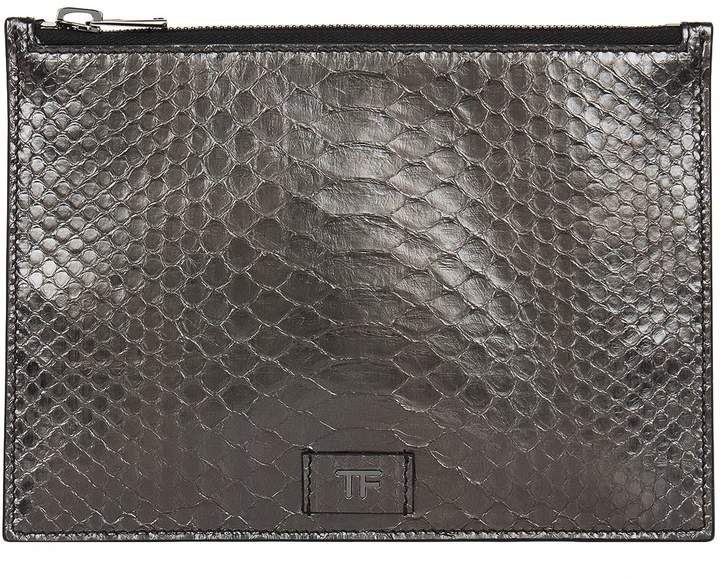 TOM FORD Small Python Pouch, Silver, One Size