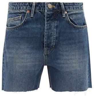 Raey Dad Cut Off Denim Shorts - Womens - Dark Blue