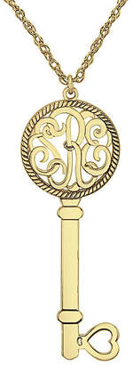 JCPenney FINE JEWELRY Personalized 14K Yellow Gold Over Silver 25mm Monogram Key Pendant Necklace