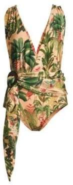 PatBO Tie Waist Plunging Print One-Piece Swimsuit