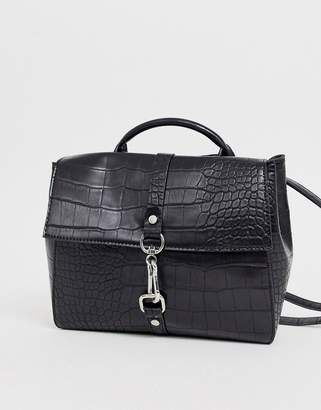 Asos Design DESIGN multi way croc backpack with dog clip detail