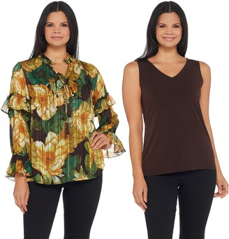 Susan Graver Printed Woven Tunic and Knit Tank Set