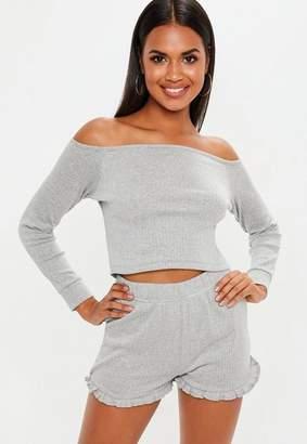Missguided Grey Rib Mix And Match Pyjama Shorts