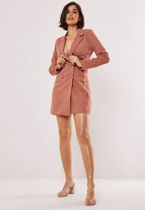 Missguided Pink Pinstripe Blazer Dress