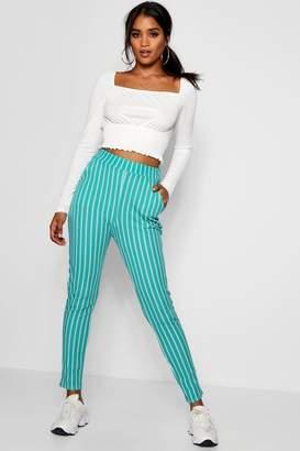 boohoo Faith Stripe Skinny Crepe Pocket Trouser