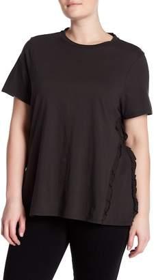 Bobeau Ruffle Short Sleeve Knit Tee (Plus Size)