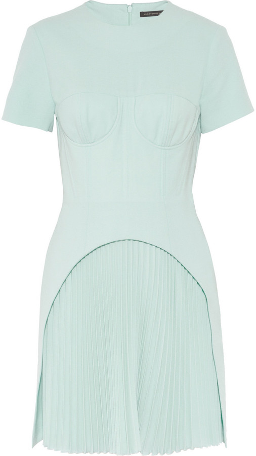 Christopher Kane Corseted pleated wool-crepe dress