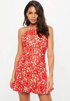 Missguided Premium Red 90s Neck Lace Frill Hem Skater Dress