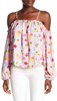Romeo & Juliet Couture Floral Print Cold Shoulder Blouse