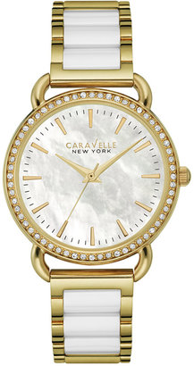 Caravelle New York by Bulova Women's White Ceramic and Gold-Tone Stainless Steel Bracelet Watch 34mm 44L172 $120 thestylecure.com