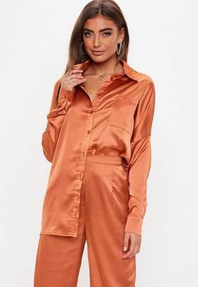 Missguided Terracotta Long Sleeve Button Front Satin Shirt