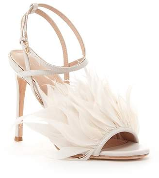 Pour La Victoire Elexi Feathered Leather Heeled Sandal