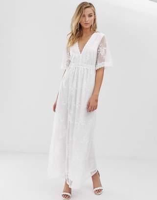 Vila embroidered lace midi dress in white
