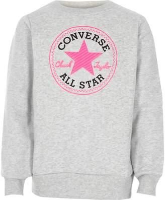 Converse River Island Girls Grey crew neck sweatshirt