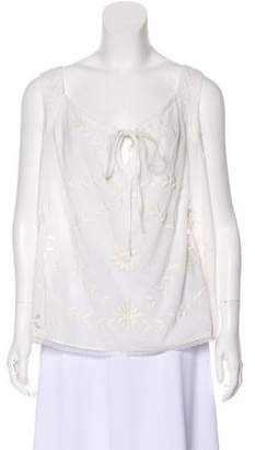 Anna Sui Embroidered Sleeveless Top