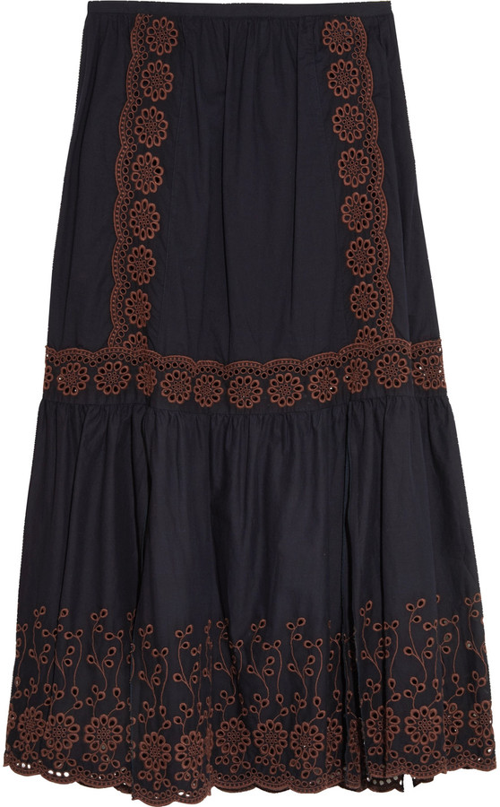 See By Chloe See by Chloé Broderie anglaise printed cotton maxi skirt