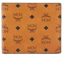 MCM Men's Small Bi-Fold Canvas& Leather Wallet - Cognac
