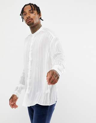 Asos DESIGN oversized fit sheer shirt with grandad collar in white