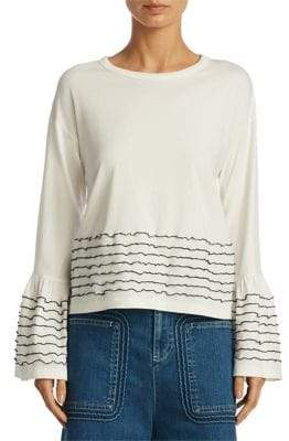 See by Chloe Striped Bell-Sleeve Top