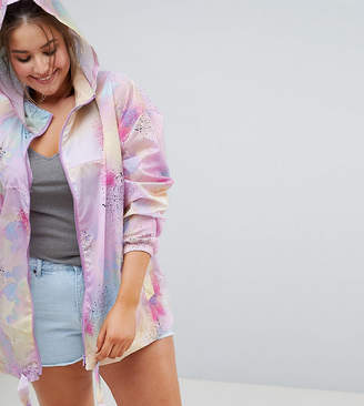 Asos DESIGN Curve rainwear jacket with bum bag in pastel spray paint