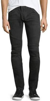 Pierre Balmain Solid Denim Skinny Biker Jeans