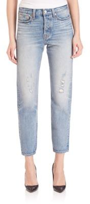 Levi's Wedgie High Rise Icon Cropped Boy-Fit Selvedge Jeans $158 thestylecure.com
