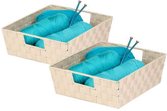 Honey-Can-Do Set of 2 Woven Trays, Creme