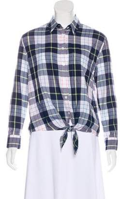 Equipment Plaid Tie-Front Top