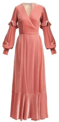 Raquel Diniz - Aurora Silk Velvet Wrap Dress - Womens - Light Pink e5a3673a5
