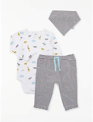 John Lewis & Partners Baby GOTS Organic Cotton Animals Bodysuit Trousers and Bib Set