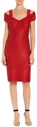 St. John Glamour Sequin Knit Off the Shoulder Dress