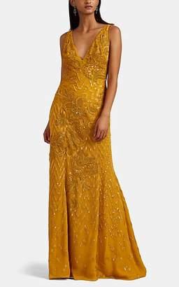 J. Mendel Women's Embellished Silk Gown - Saffron