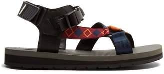 Prada - Multi Strap Rubber Sandals - Mens - Black Multi