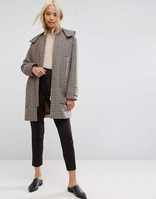 Asos DESIGN Hooded Check Coat with Rib Funnel Neck