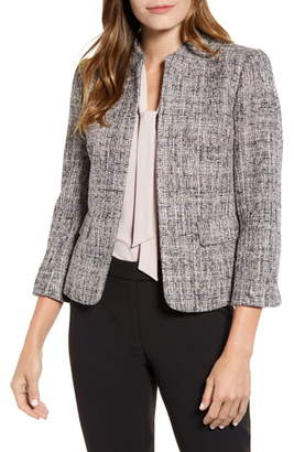 Anne Klein Tweed Mandarin Collar Jacket