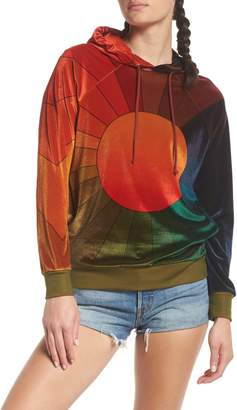 Aviator Nation Rainbow Sunburst Velour Hoodie