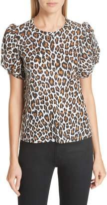 A.L.C. Kati Leopard Print Twist Sleeve Tee