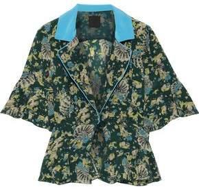 Anna Sui Satin-trimmed Printed Silk-crepe Peplum Jacket