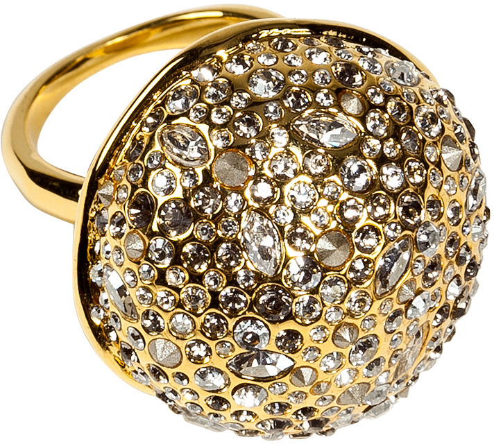 Alexis Bittar Crystal Encrusted Gold Sphere Ring
