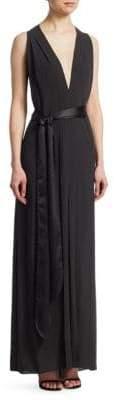 Halston Flowy V-Neck Gown