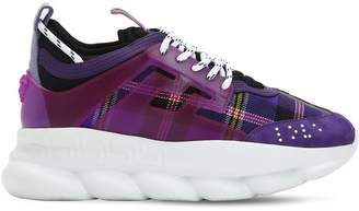 Versace Chain Reaction Wool Plaid Sneakers
