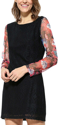 Desigual Long Sleeves Scoop Neck Mini Dress