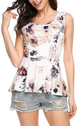 Meaneor Women Lightweight Floral Print Sleeveless Tunic Babydoll Tops XXL