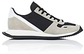 Rick Owens Men's Geometric-Sole Suede & Tech-Twill Sneakers - Black