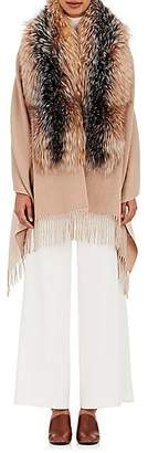 Barneys New York Women's Wool-Blend Fur-Trimmed Cape - Beige, Tan